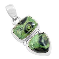 925 silver 12.83cts natural green kambaba jasper (stromatolites) pendant p70495