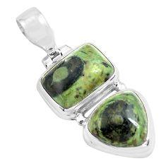 925 silver 13.26cts natural green kambaba jasper (stromatolites) pendant p70498