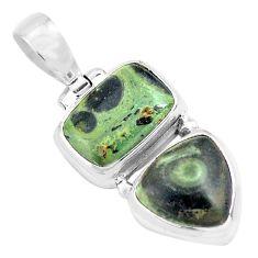 925 silver 12.83cts natural green kambaba jasper octagan shape pendant p70491