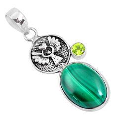 925 silver 15.11cts natural green malachite (pilot's stone) oval pendant p56837