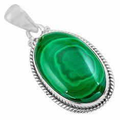 925 silver 23.46cts natural green malachite (pilot's stone) oval pendant p86008