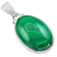 925 silver 24.89cts natural green malachite (pilot's stone) oval pendant p86028