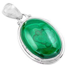925 silver 25.28cts natural green malachite (pilot's stone) oval pendant p86033