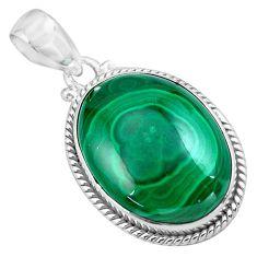 925 silver 24.89cts natural green malachite (pilot's stone) pendant p86016