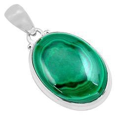925 silver 24.38cts natural green malachite (pilot's stone) pendant p86019