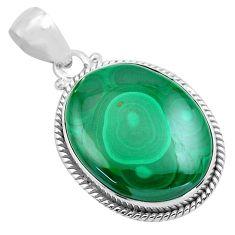 925 silver 26.52cts natural green malachite (pilot's stone) pendant p86025