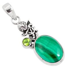 925 silver 14.85cts natural green malachite cupid angel wings pendant p56824