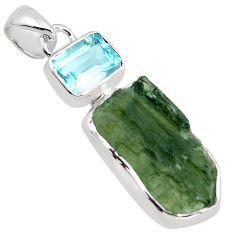 925 silver 9.66cts natural green moldavite (genuine czech) topaz pendant p87017