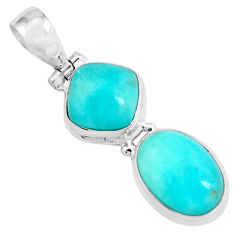 925 silver 11.89cts natural green peruvian amazonite oval pendant p67751