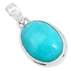 925 silver 16.18cts natural green peruvian amazonite pear pendant p49332