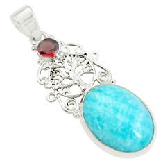 Clearance Sale- 925 silver 18.45cts natural green peruvian amazonite red garnet pendant d31755