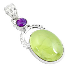 Clearance Sale- 925 silver 19.23cts natural green prehnite copper turquoise round pendant d31029