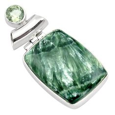 925 silver 23.46cts natural green seraphinite (russian) amethyst pendant p85158