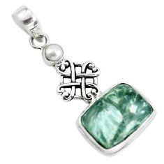 925 silver 14.12cts natural green seraphinite (russian) pearl pendant p55154