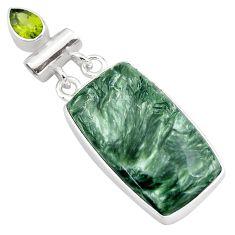 925 silver 21.48cts natural green seraphinite (russian) peridot pendant p85154