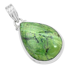 925 silver 17.57cts natural green swiss imperial opal pear shape pendant p59634