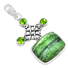 925 silver 19.12cts natural green swiss imperial opal peridot pendant p55096