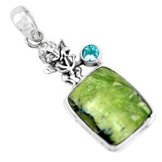 925 silver 16.43cts natural green swiss imperial opal topaz angel pendant p55093