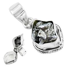 925 silver 7.04cts natural grey meteorite gibeon fancy poison box pendant p45604