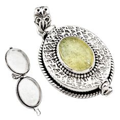 925 silver 5.84cts natural libyan desert glass oval poison box pendant p79895