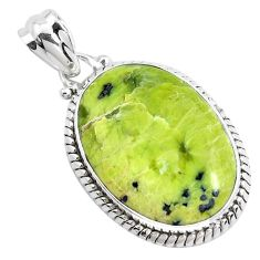 925 silver 18.70cts natural lizardite (meditation stone) oval pendant p40636