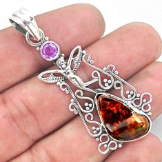 925 silver 11.27cts natural mexican fire agate angel wings fairy pendant p54012