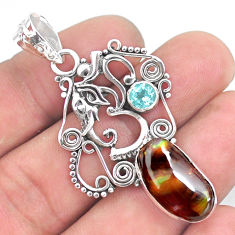 925 silver 10.64cts natural mexican fire agate elephant pendant jewelry p53996
