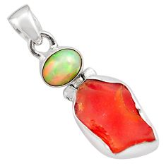 925 silver 10.05cts natural mexican fire opal ethiopian opal pendant p84335