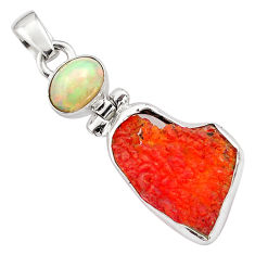 925 silver 10.05cts natural mexican fire opal ethiopian opal pendant p84338