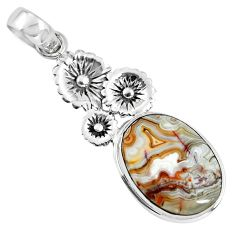 925 silver 15.16cts natural mexican laguna lace agate oval flower pendant p55069