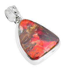 925 silver 20.65cts natural multi color ammolite (canadian) fancy pendant p47789
