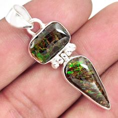 925 silver 9.37cts natural multi color ammolite (canadian) fancy pendant p70535