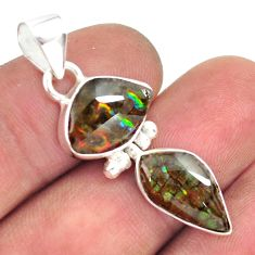 925 silver 8.84cts natural multi color ammolite (canadian) fancy pendant p70538