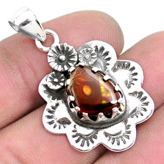 925 silver 5.75cts natural multi color ammolite (canadian) flower pendant p42144