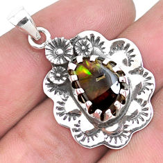 925 silver 6.26cts natural multi color ammolite (canadian) flower pendant p42146