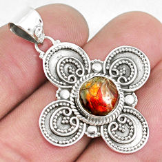 925 silver 3.42cts natural multi color ammolite (canadian) pendant p33425