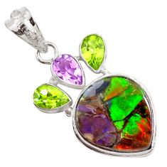 925 silver 16.85cts natural multi color ammolite (canadian) pendant p47757
