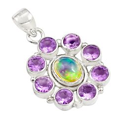 925 silver 10.53cts natural multi color ethiopian opal amethyst pendant p78008