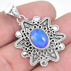 925 silver 4.30cts natural multi color ethiopian opal oval pendant p33384