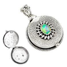 925 silver 2.20cts natural multi color ethiopian opal poison box pendant p79988