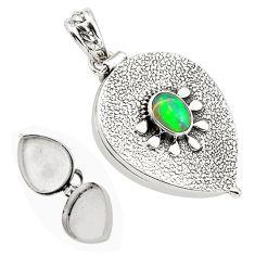 925 silver 2.22cts natural multi color ethiopian opal poison box pendant p80010