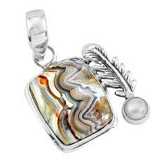 925 silver 14.39cts natural multicolor mexican laguna lace agate pendant p55064