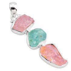 925 silver 15.02cts natural pink morganite rough aquamarine rough pendant p88094