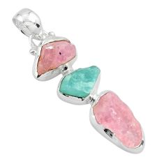 925 silver 12.07cts natural pink morganite rough aquamarine rough pendant p88155