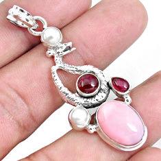 925 silver 9.72cts natural pink opal red garnet anaconda snake pendant p43264