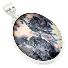 925 silver 26.70cts natural pink porcelain jasper (sci fi) oval pendant p41149