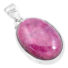 925 silver 31.53cts natural pink rhodonite in black manganese pendant p47571
