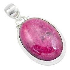 925 silver 31.53cts natural pink rhodonite in black manganese pendant p57891