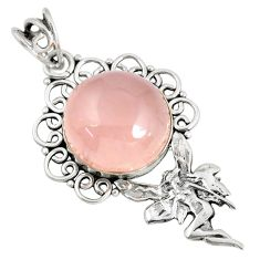925 silver 15.97cts natural pink rose quartz angel wings fairy pendant p59751