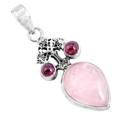 925 silver 13.83cts natural pink rose quartz garnet holy cross pendant p47293